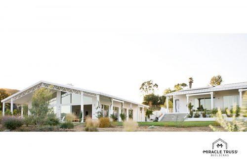 White metal truss house