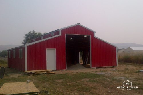 Red barn truss building