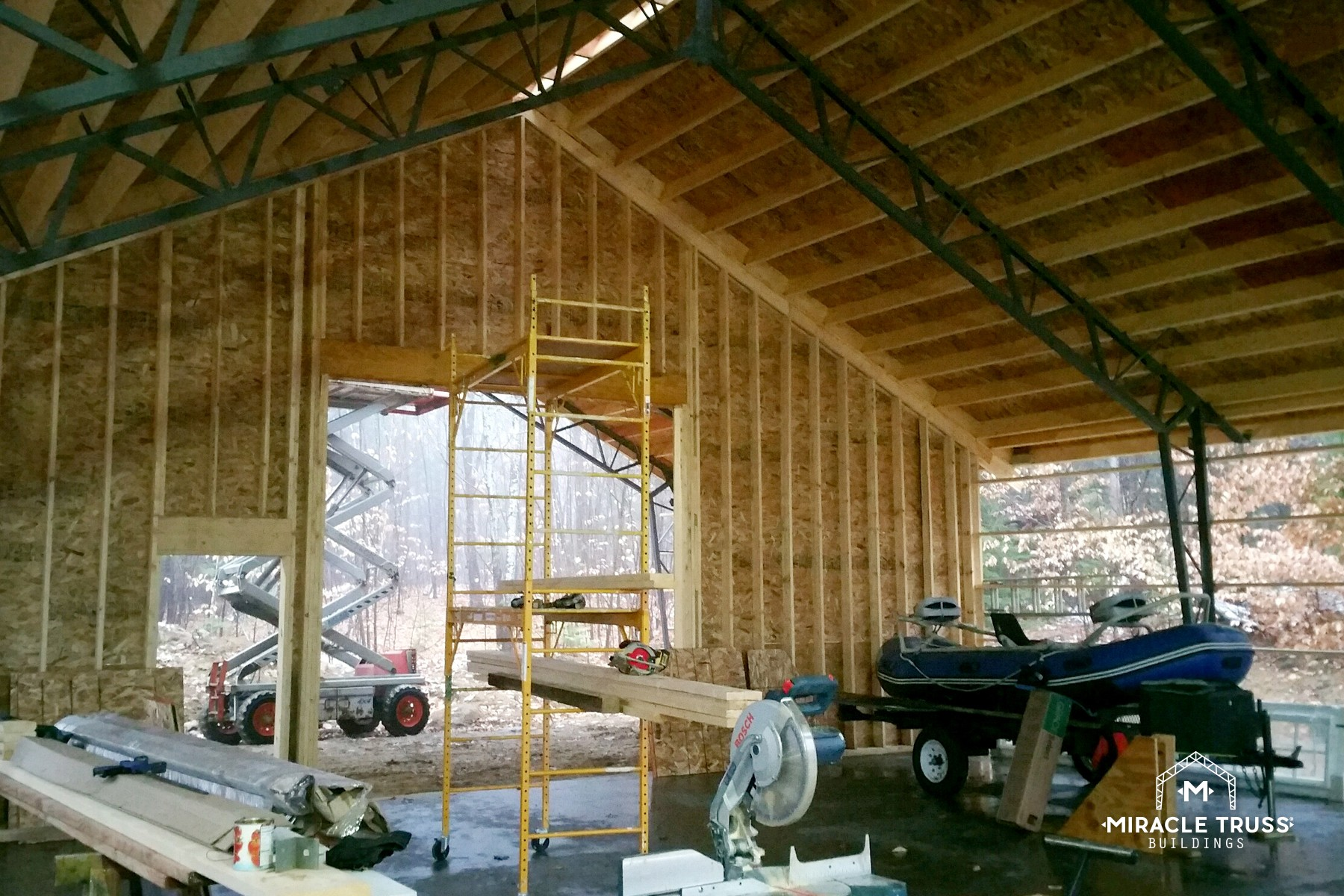 Rv and marine storage in any state miracle truss for Boat garage kits