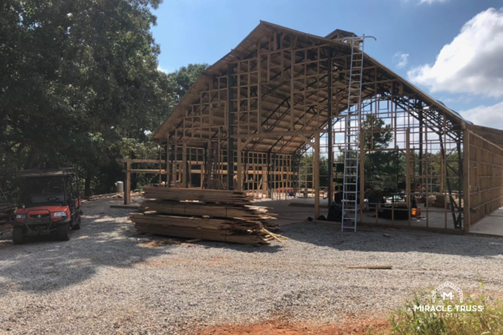 Gambrel Barn Roof Shape Created by Web Trusses