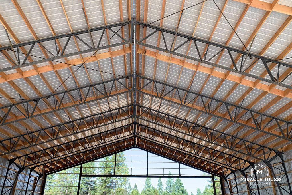 The Clear Span Truss design creates a wide open space inside your Pre-Fab Airplane Hangar.