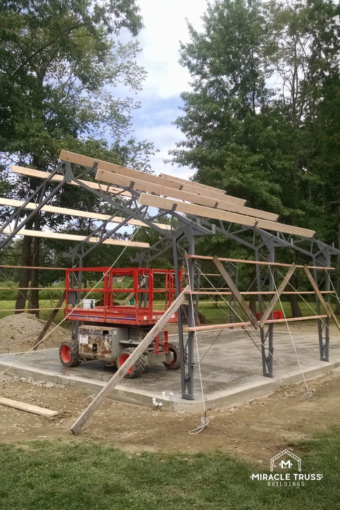 Each Clear Span Truss has Edge mounted secondary wall members.